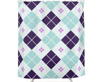 3 Color Options Chic Scottish Pattern Shower Curtains, Bathroom Shower Curtain, Minimal Pattern Design, Home Decor, Scottish Pattern