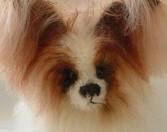Pixie, Papillion dog pattern Puppy, Mohair bear, Alaine Ferreira, Bearflair, Artist dog bear pattern.