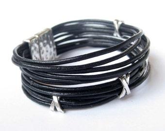 Black and Silver Leather Bracelet, Women Bracelet, Leather Bracelet, Gift, For Her