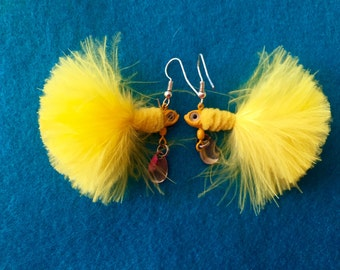 Feather Jig Fishing Lure Earrings