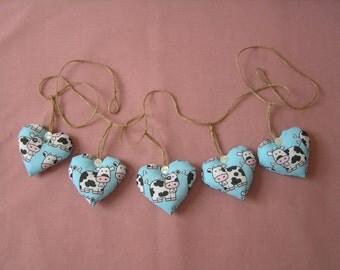 Cow bunting, heart garland, blue bunting, farmyard, animal garland, cows, summer house, kitchen, bedroom
