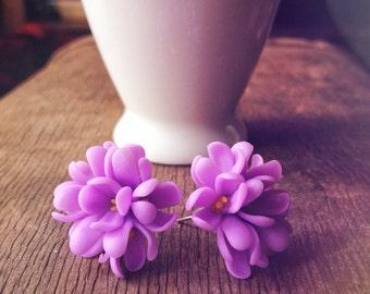 Lilac studs, lilac flower, flower studs, lilac flower earrings, purple studs, purple flower studs, polymer clay earrings, lilac earrings