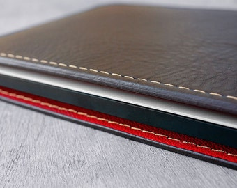 Monogram. Macbook Air 13 Premium Leather case, Brown/RED.