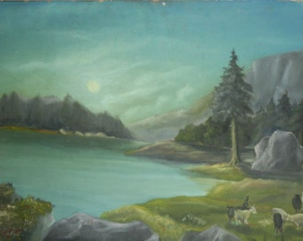 Vintage oil painting landscape lake