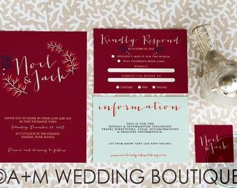 Wedding Invitation set, Winter Wedding, Printable Invitations, Classic invitation set : NOEL