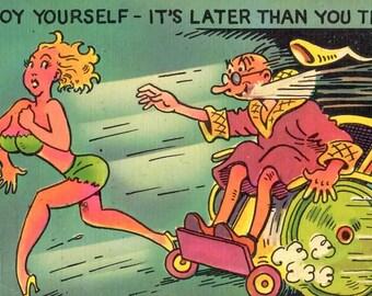 Vintage Comedy Postcard Linen Finish 1940's, Unused, Enjoy Yourself