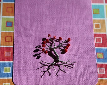Unique handmade beaded wire tree greeting card