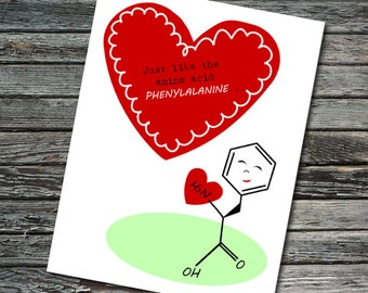 Amino Acid Science Valentine | Student, Teacher, Professor, Scientist, Chemist, Biochemistry, Engineer | Nerdy Valentine's Day Card