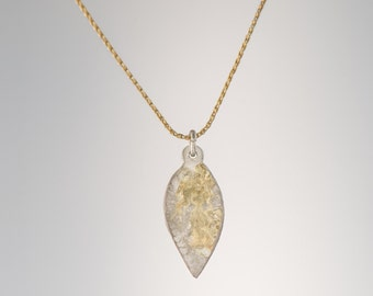 14K Yellow Gold necklace with Sterling Silver (925) and 18K Gold Solder leaf pendant