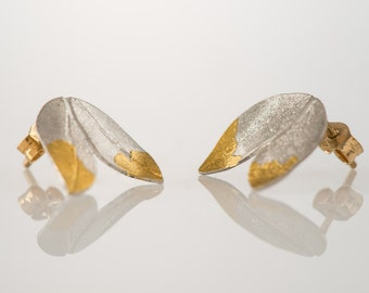 24K Yellow Gold and Sterling Silver (925) leaf stud earrings for woman, nature inspired jewelry, one of a kind jewellery