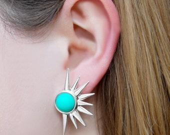 Mint Green Sun Earrings, Silver Earrings, Mint Green Jewelry