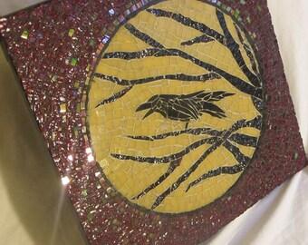 "STUNNING Stained Glass RAVEN Poe Mosaic 12""x12"" Handmade OOAK"