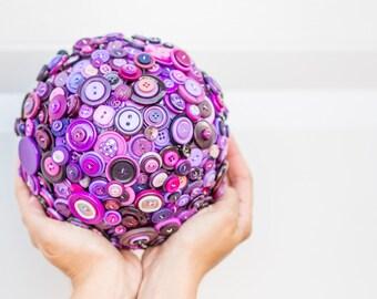 Purple Button Bridal Bouquet, Button Pomander, Flower Alternative, Purple Kissing Ball, Whimsical Wedding Bouquet, Canadian Seller