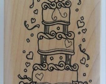 Funstamps Wedding Cake rubber stamp