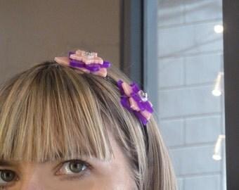 Flower hairband || hair band || bijoux de tete || violet pink flower || head band || headband || changeble || interchangeable flower