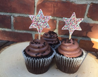 Glitter Star Cup Cake Toppers