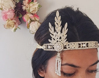 1920's Great Gatsby Inspired gold leaf medallion pearl headpiece headband