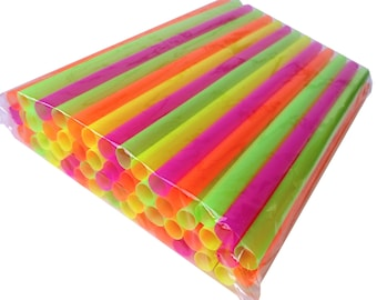 "Wide Neon Smoothie & Milkshake Straws! Super-Strong™!             Monster Straw® Brand. 50 Ct. 8"" Long."