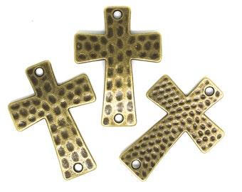 BULK 50 pcs - Antique Bronze Tone Hammered Sideways Cross Bracelet Connector.
