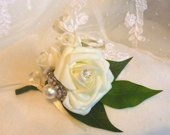 Bespoke white Ivory rose flower corsage wedding bridal boutonniere button hole