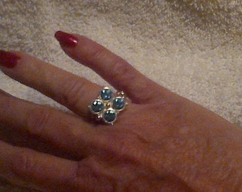 Ice Blue stones in silver mounting
