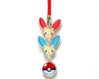 Doublesided 1 Inch Plusle Minun Charm