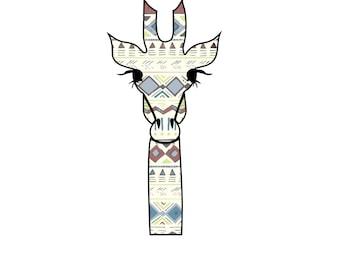 Giraffe Aztec Sticker