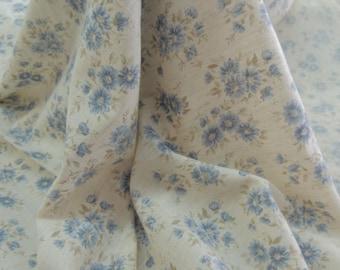 Blue Daisy Print Linen Blend by the Yard