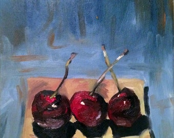 Cherries in a Row- 10''x8'' original acrylic painting