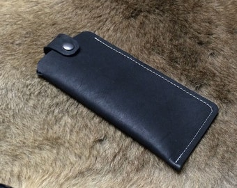 Leather Glasses Case Pouch fits in Your Pocket Black