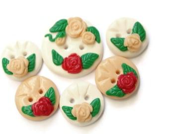 Rose buttons decorative buttons flower button daisy button novelty button kids buttons set sewing knitting button buttons polymer buttons