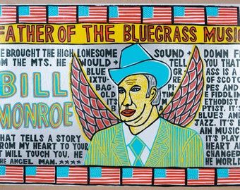 BILL MONROE | Houtsnede woodblock letterpress poster