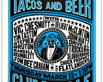TACOS AND BEER | Houtsnede woodblock letterpress poster