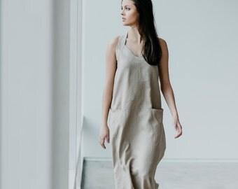 Linen Dress Motumo 15S13 - Long linen dress