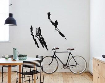 SHADOWS II BERLIN Serie 1 - Wall Art Decal | Urban Art Wall Sticker, Street Art Stencil style,  people silhouettes