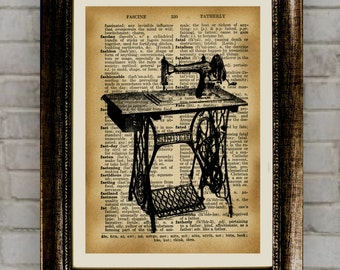 Old sewing machine poster