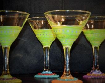 Handpainted Martini Glasses