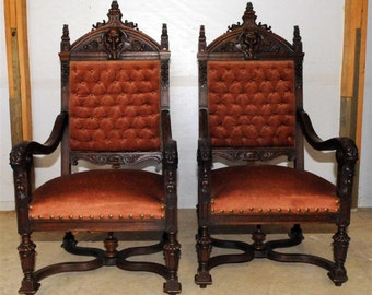 French Antique Renaissance Arm Chairs, Pair, Tufted Upholstery, Sturdy #2410