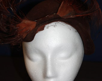 Winkleman Feather Cloche Vintage Hat