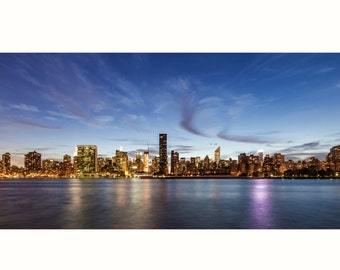 New York City Sunset Skyline Panarama Wall Print