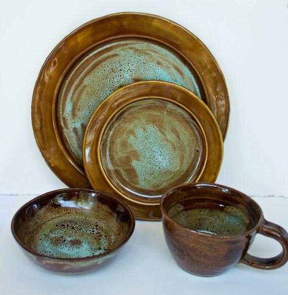 Art Deco Dinnerware Set Handmade Stoneware By