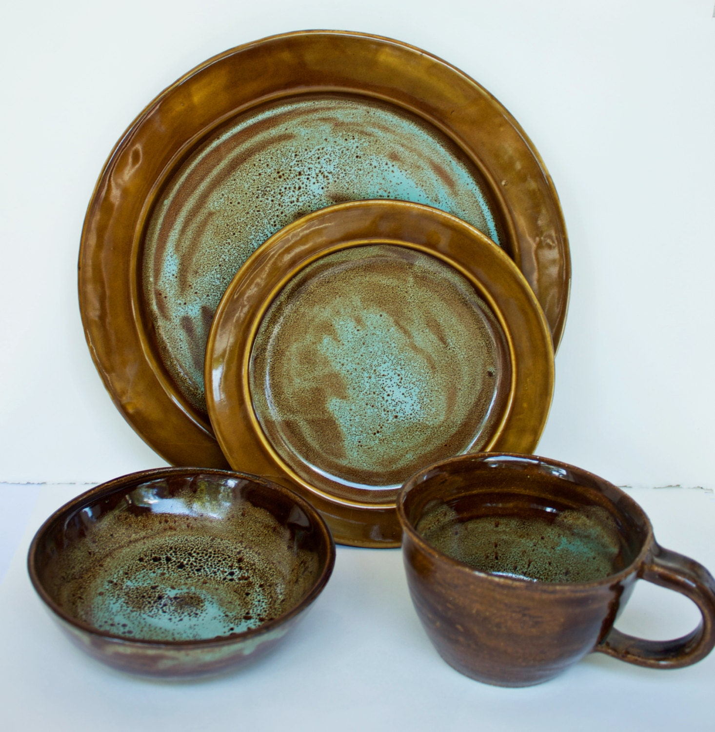 art deco dinnerware set handmade stoneware by