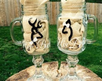 Browning Deer Mason Jar Wedding Glass Set, Mason Jars, Wedding, Toasting Glasses, Southern Style, Shabby Chic, Bride, Groom, Personalized