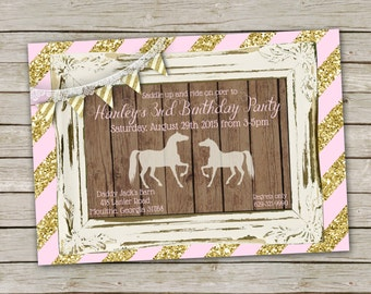 Horse Birthday Invitation for Girl in Pink and Gold Glitter – printable 5x7