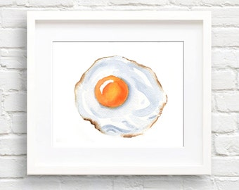 Fried Egg - Art Print - Kitchen Wall Decor - Watercolor Painting