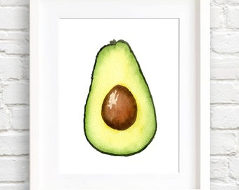 Avacado - Art Print - Kitchen Wall Decor - Watercolor Painting