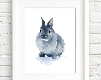 Bunny Rabbit Art Print - Nursery Art - Wall Decor - Watercolor Painting