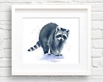 Raccoon Art Print - Wall Decor - Nursery Art - Watercolor Painting