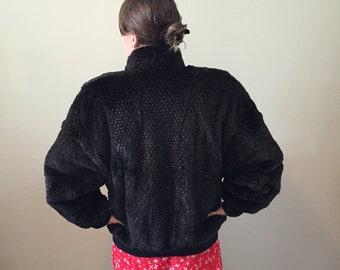 Black Rabbit Fur Bomber Jacket – Size large