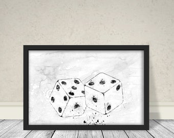 Dices Minimalist Watercolor Art, Abstract Art, Black and white Art